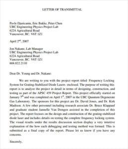 Letter Of Transmittal Samples from www.sampleletterword.com