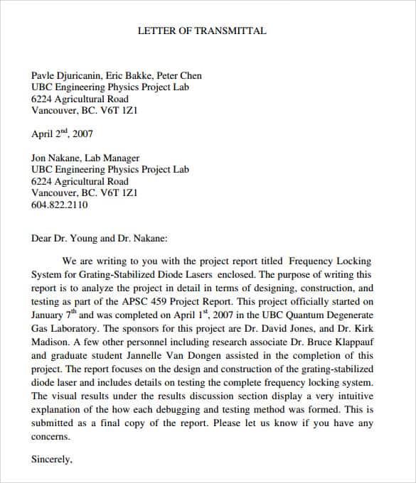 Letter Of Transmittal 006