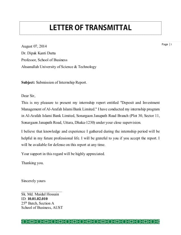What Should An Effective Letter Of Transmittal Include? from www.sampleletterword.com