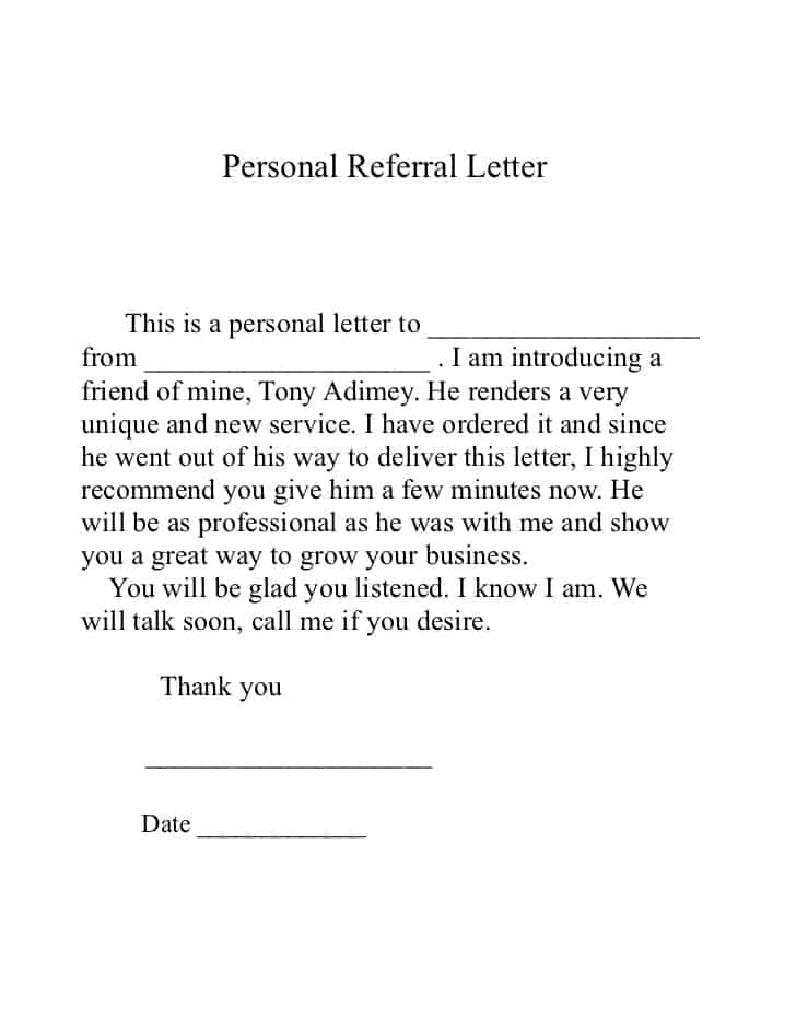 10+ Sample Referral Letters   Sample Letters Word