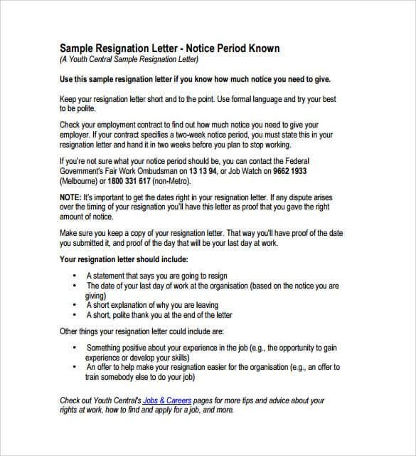Resignation Letter 005