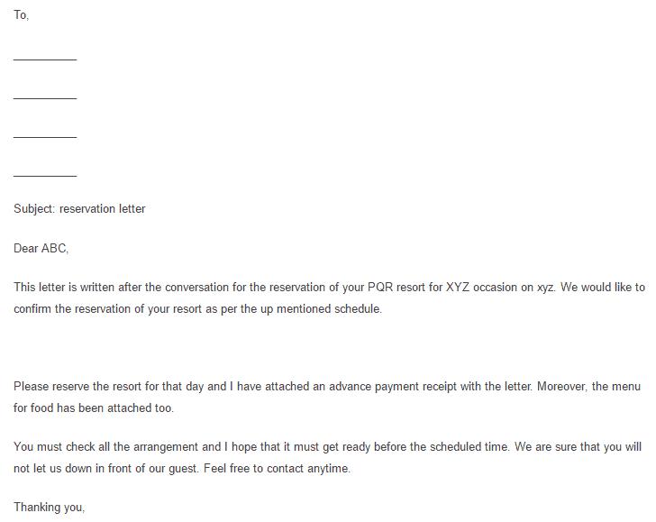 Sample Reservation Letter 005