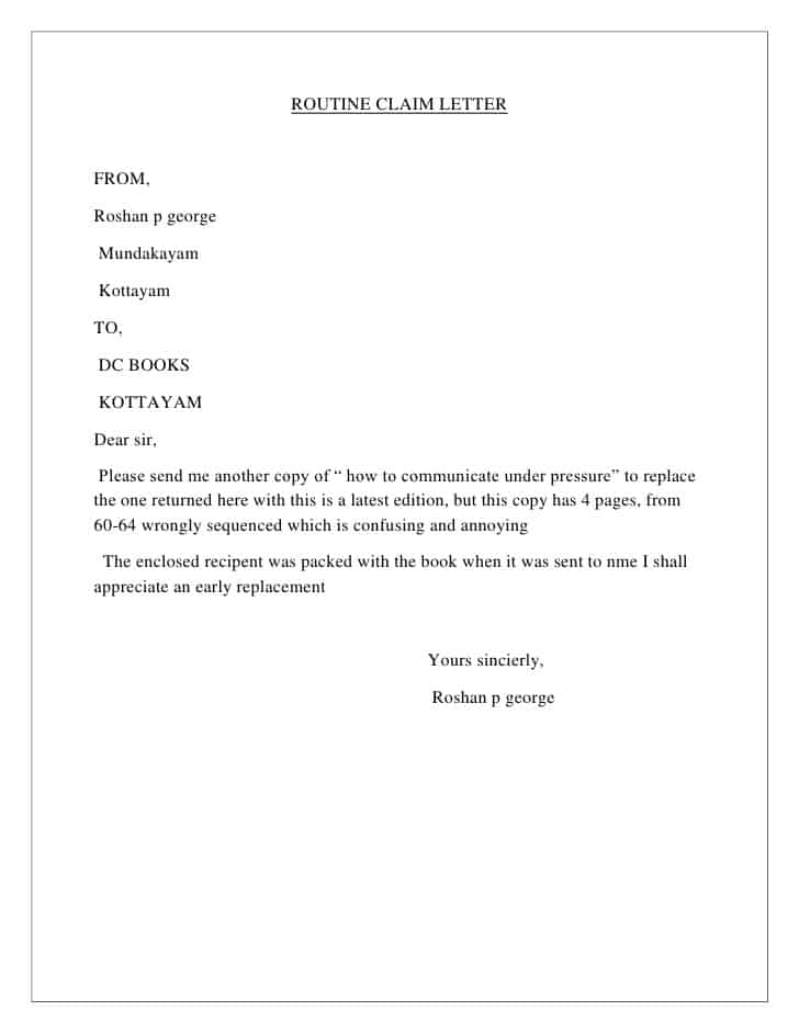 Sales Letter Template Insurance Claim Letter Template
