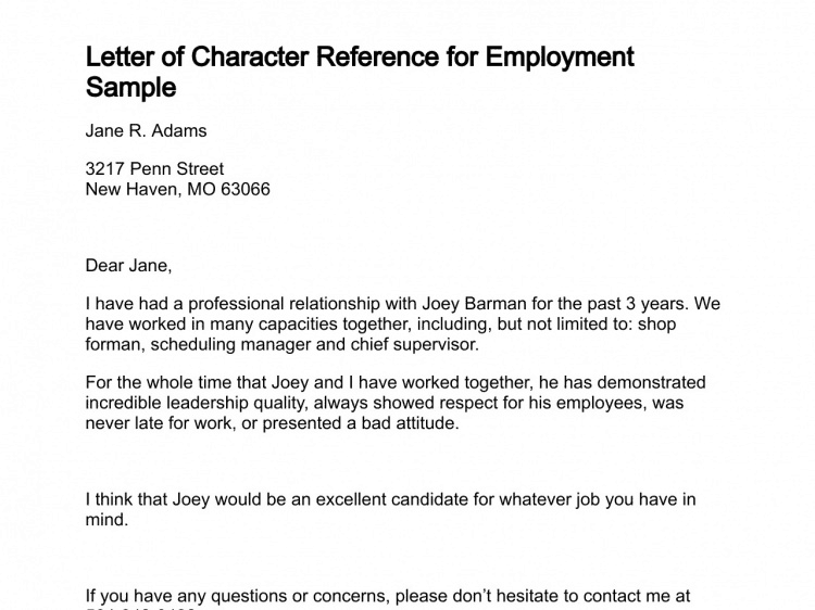 Employee Reference Letter Samples from www.sampleletterword.com