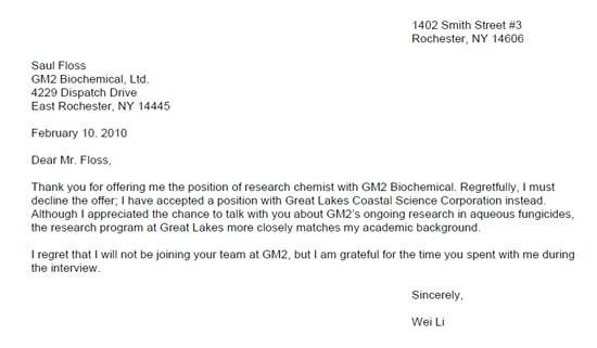 refusal letter sample 004