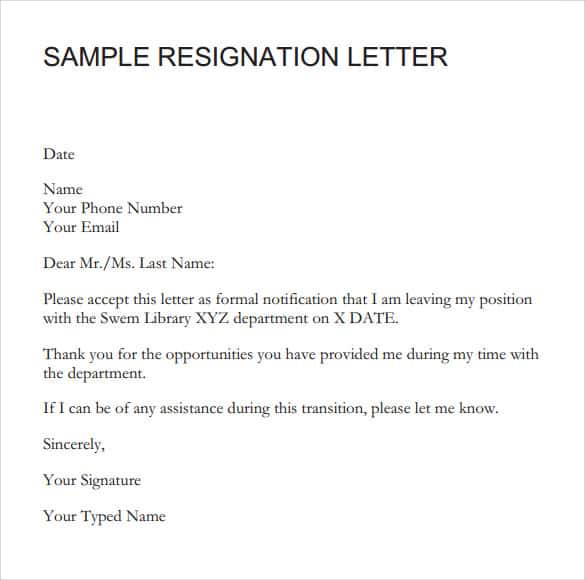 9+ Resignation Letter Sample - Writing Letters Formats ...