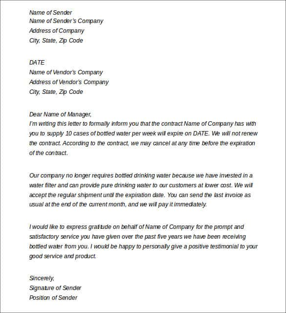 Cancellation Letter To Vendor from www.sampleletterword.com