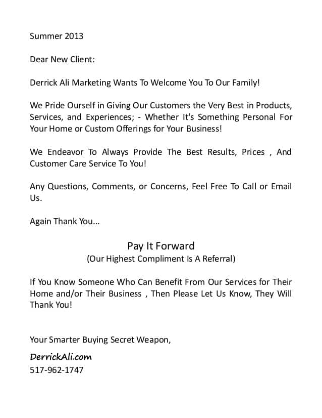 welcome letter sample 008