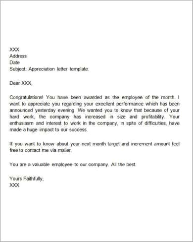Appreciation-Letter-Template-UU Template Appreciation Letter For Award Of Business on free meal, after interview, personal thank you, about company, template going out, customer for,