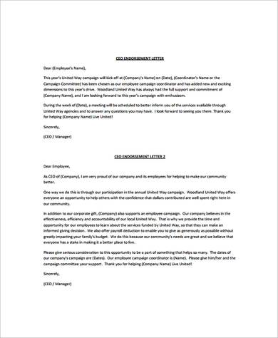 26+ Sample Endorsement Letters - Writing Letters Formats