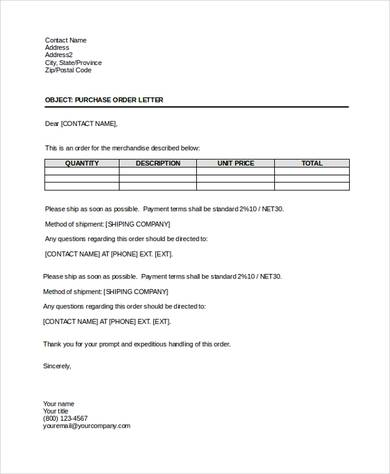 Simple Purchase Order Terms And Conditions Sample from www.sampleletterword.com
