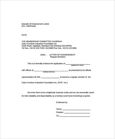 26 Sample Endorsement Letters Writing Letters Formats Examples