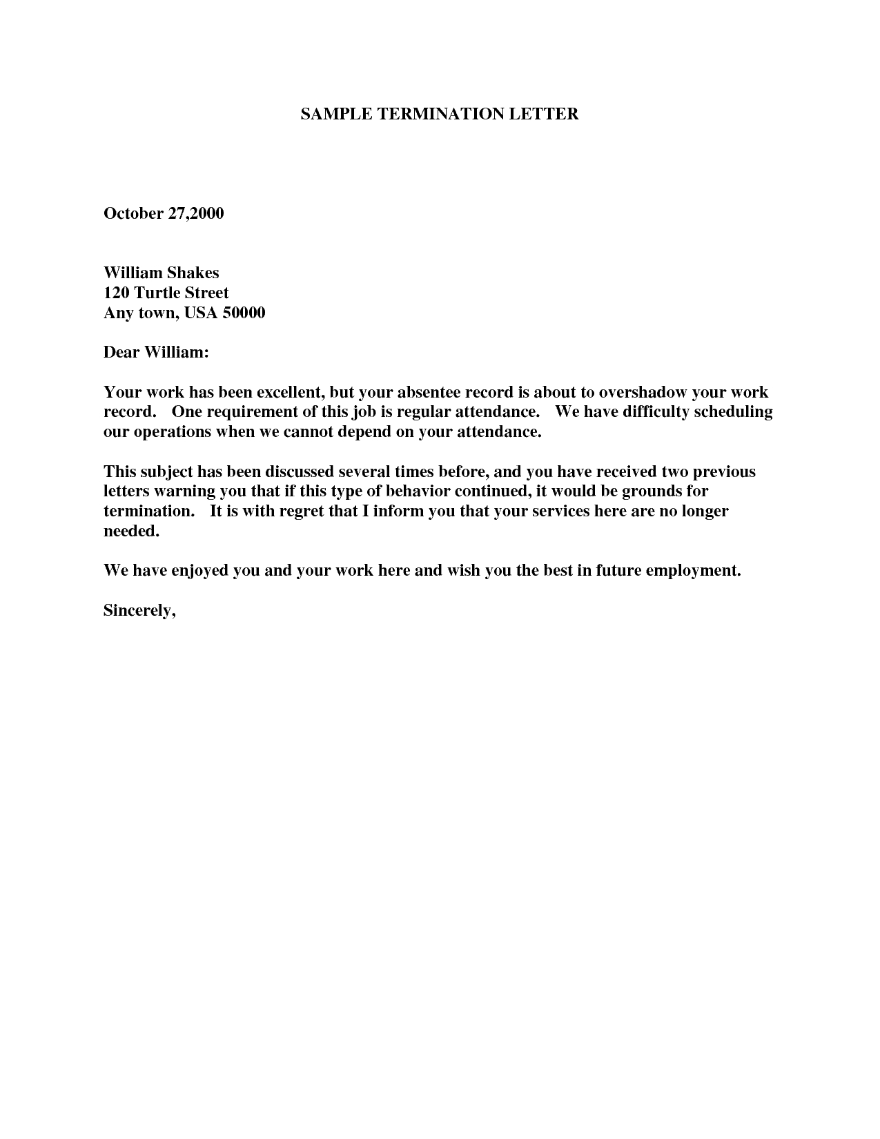 Example Of Termination Letter To Employee.19 Termination Letter Samples Writing Letters Formats