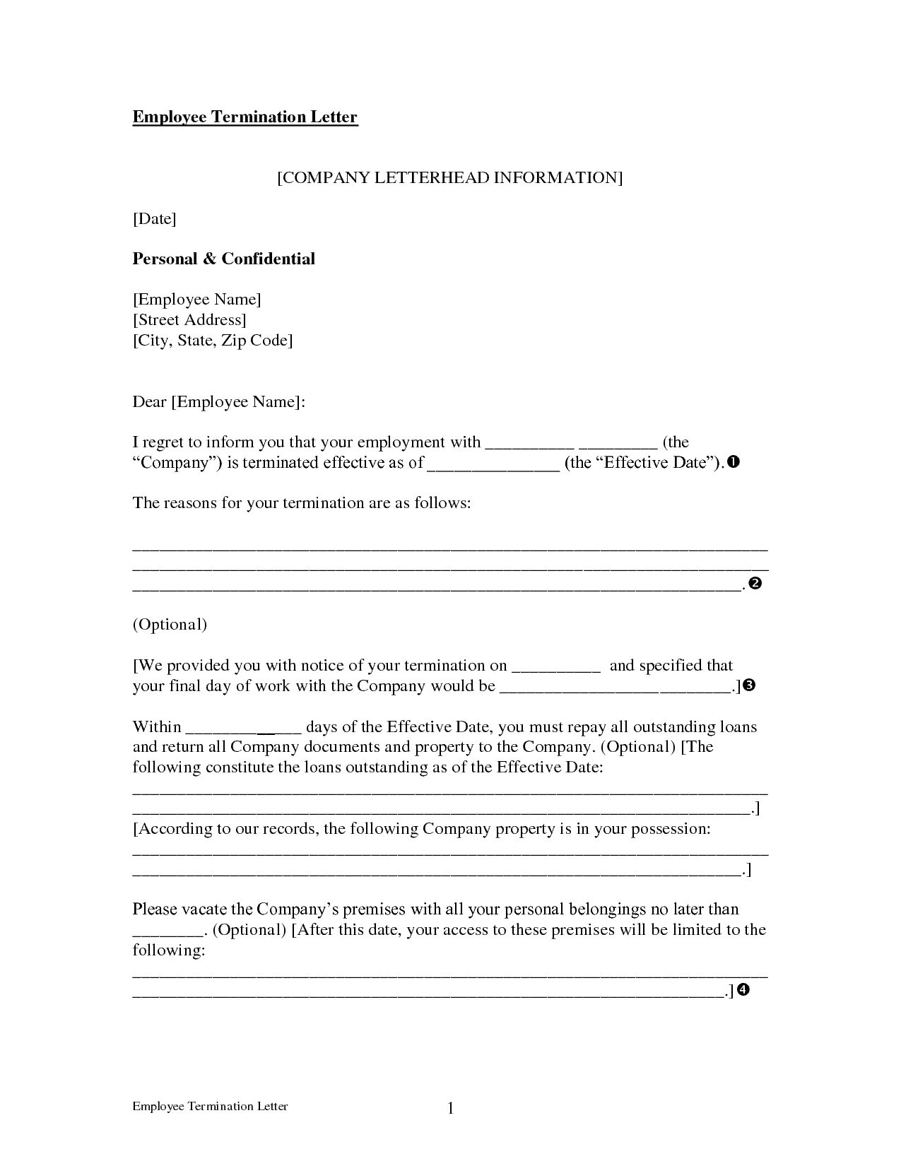Employee Termination Letter Template Free from www.sampleletterword.com