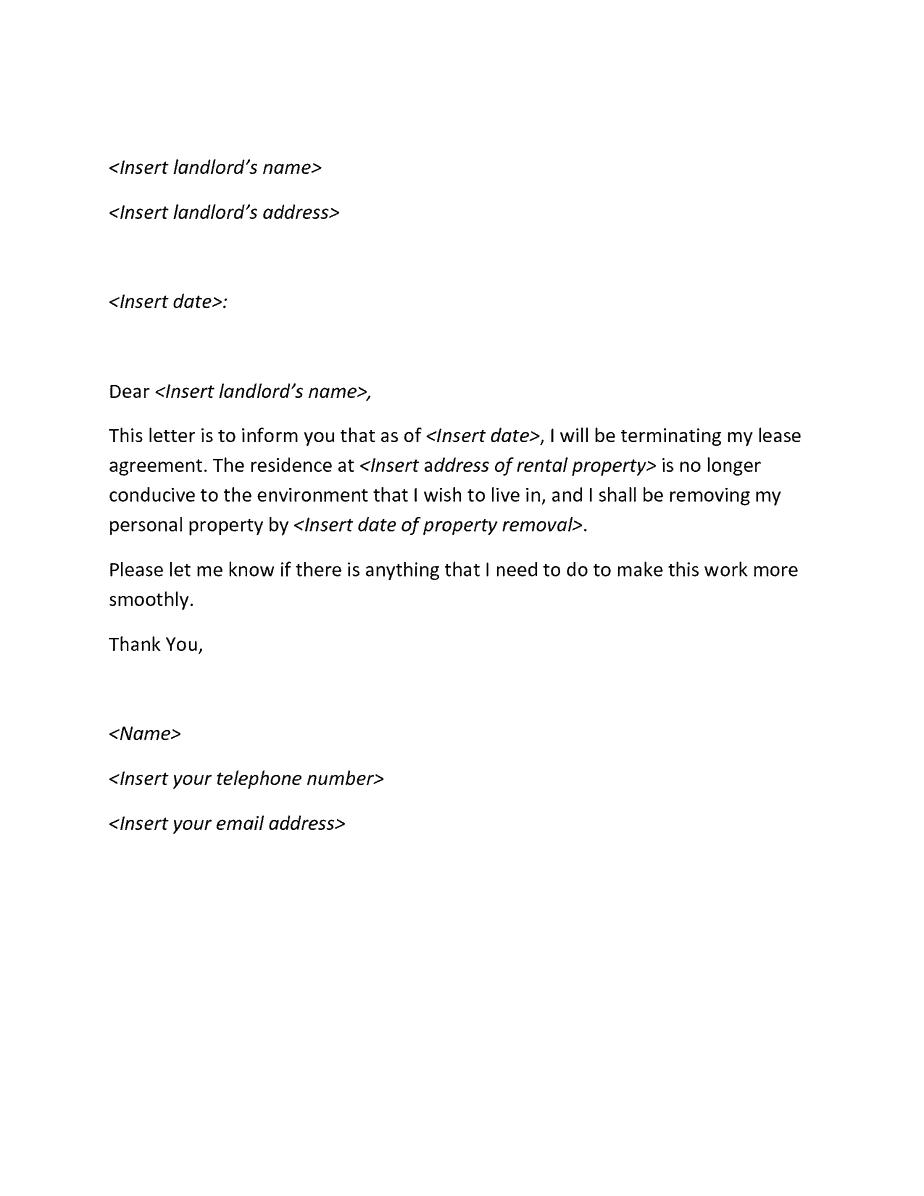 Lease Agreement Cancellation Letter Sample from www.sampleletterword.com