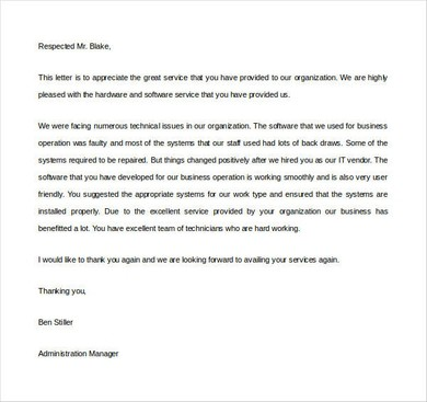 35+ Sample Appreciation Letters - Writing Letters Formats