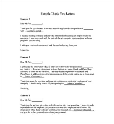 Simple Thank You Letter from www.sampleletterword.com