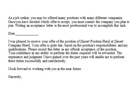 Acceptance Of Offer Letter from www.sampleletterword.com