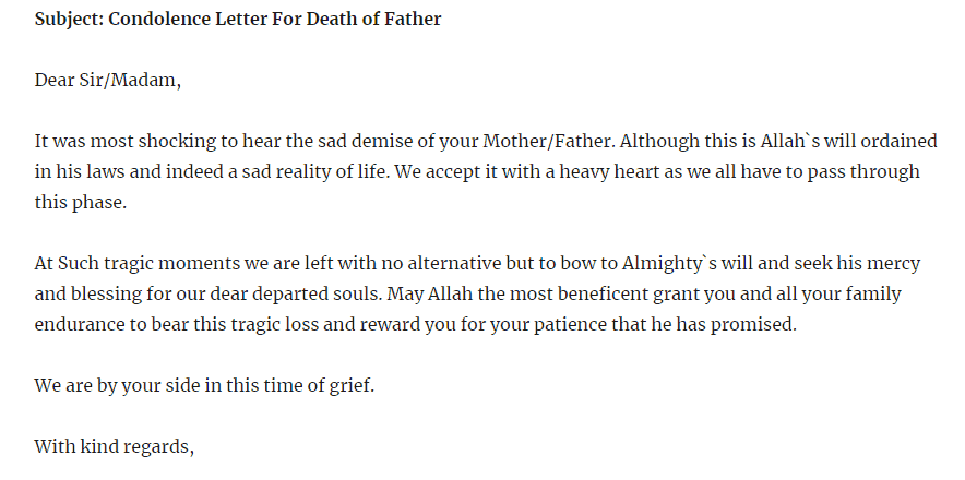 Condolence Letter For Loss Of Father from www.sampleletterword.com