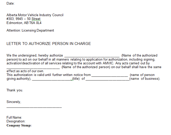 Authorization Letter For Representative To Transact Business from www.sampleletterword.com