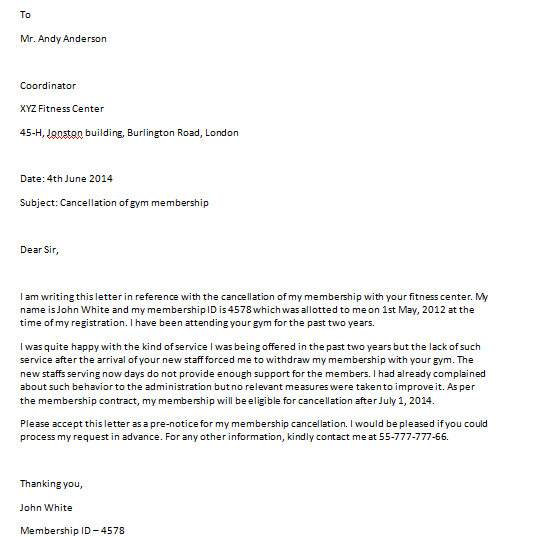 Sample Letter To Cancel Gym Membership from www.sampleletterword.com
