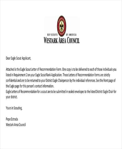 4 Eagle Scout Recommendation Letter Samples Writing Letters Formats Examples