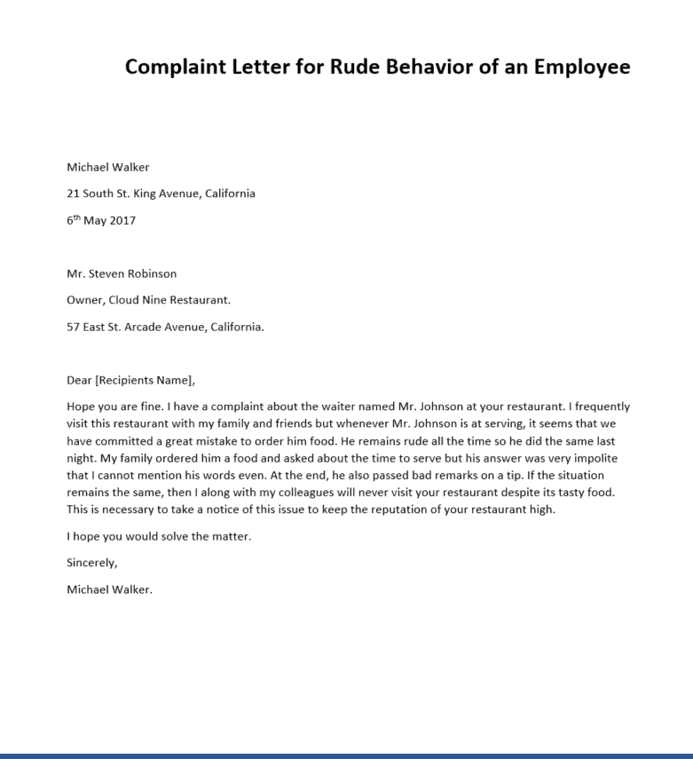 Letter Of Complaint Example from www.sampleletterword.com